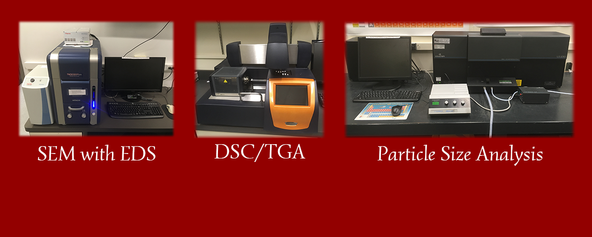 Images of our newest equipment: SEM with EDS, DSC/TGA, and Particle Size Analysis